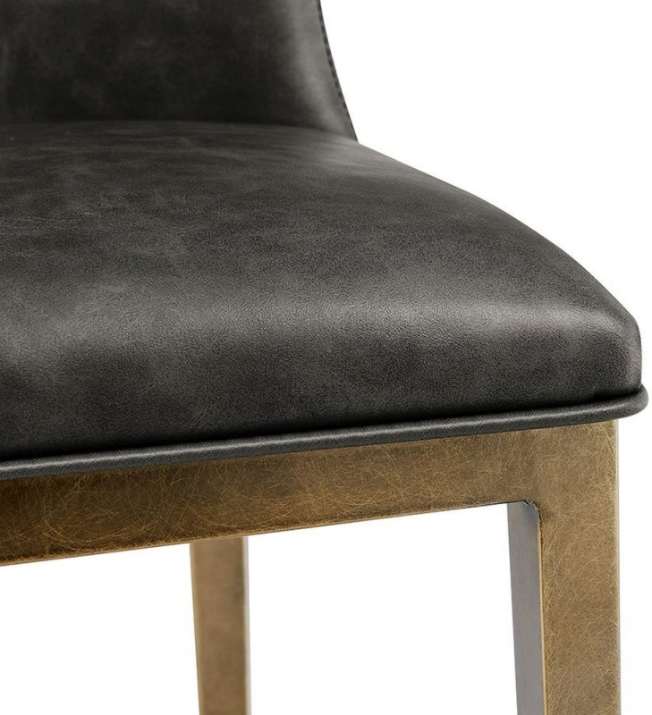 Penrith Brass and Vintage Grey Faux Leather Barstool