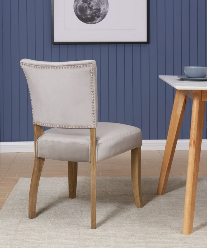 Hedon Grey Velvet Fabric Dining Chair (Pair)