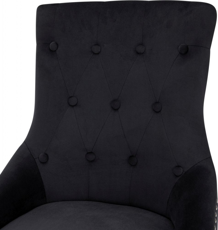 Lewes Black Velvet Fabric Lion Head knockerback Dining Chair (Pair)