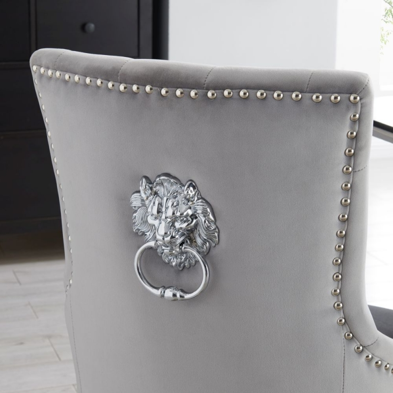 Lewes Grey Velvet Fabric Lion Head knockerback Dining Chair (Pair)