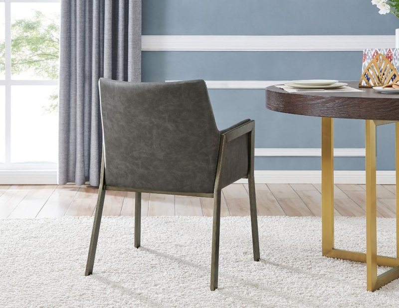 Louth Brass and Vintage Grey Faux Leather Armchair (Pair)