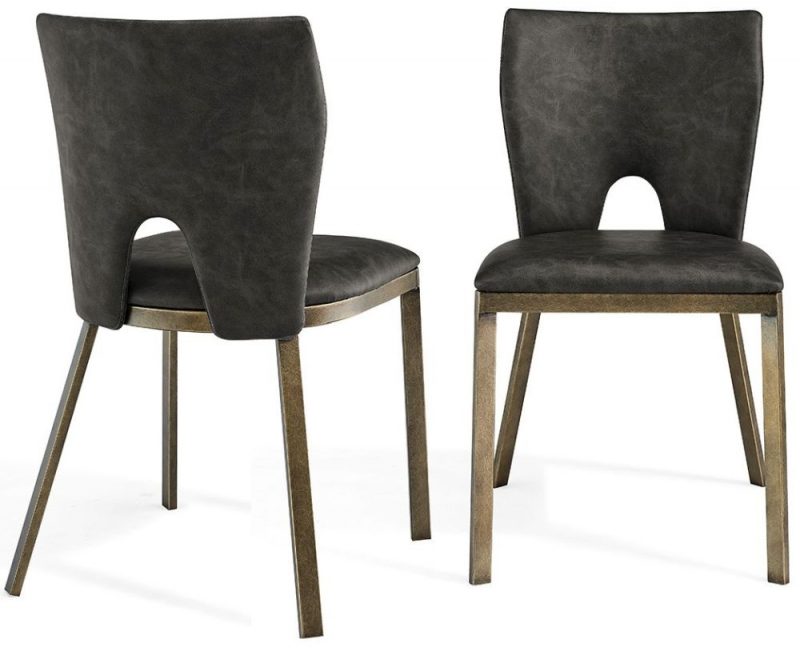 Neston Brass and Vintage Grey Faux Leather Dining Chair (Pair)