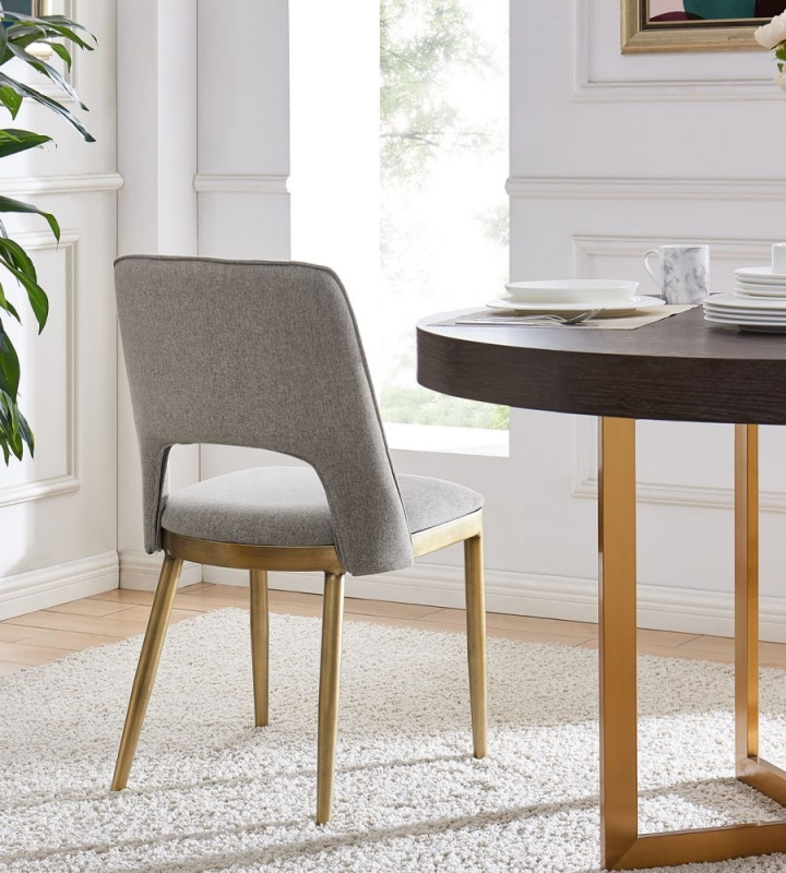 Malton Brass and Beige Linen Fabric Dining Chair (Pair)