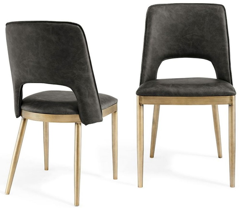 Malton Brass and Vintage Grey Faux Leather Dining Chair (Pair)