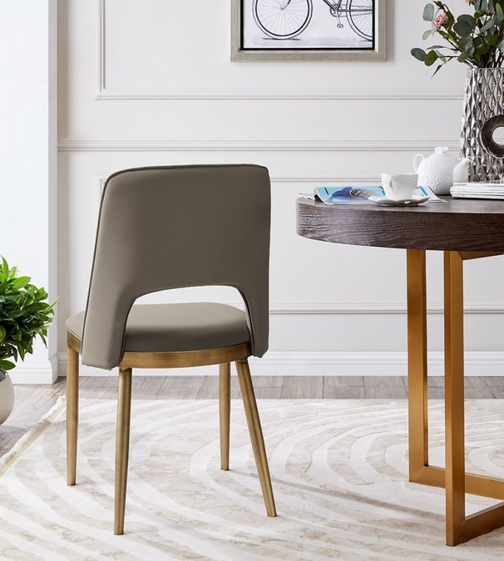 Malton Brass and Taupe Faux Leather Dining Chair (Pair)