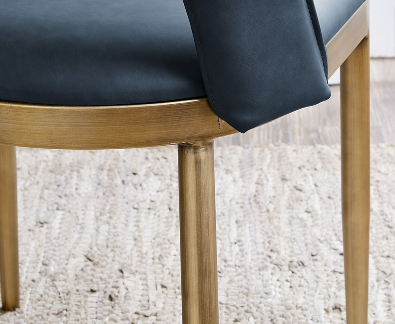 Malton Brass and Night Blue Faux Leather Dining Chair (Pair)