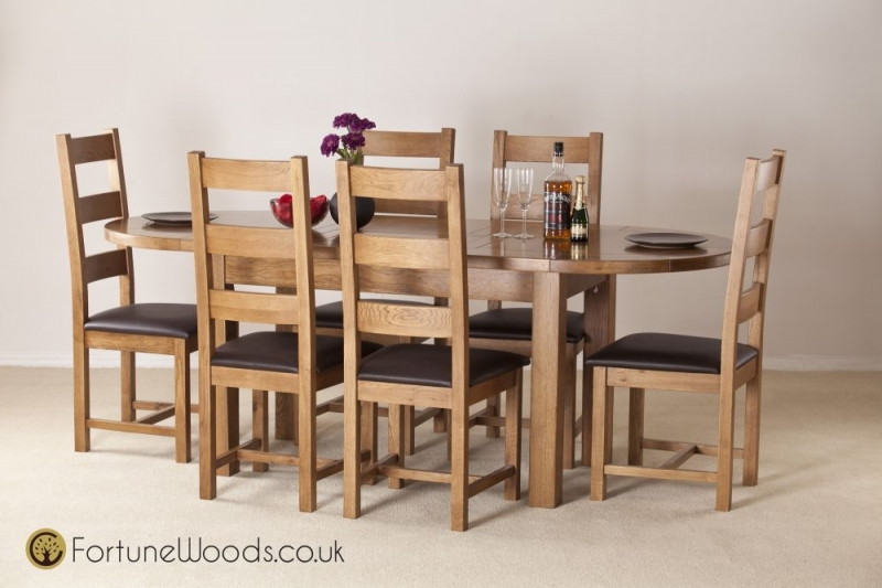 Rustic Oak Dining Table - Large D-End Extending