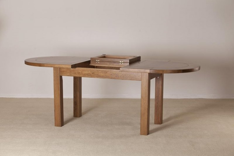 Rustic Oak Oval Extending Dining Table