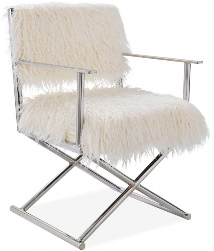 White Faux Sheepskin Fur Director Chair