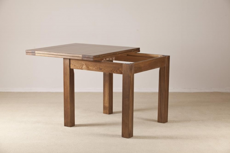 Buy Rustic Solid Oak Flip Top Square Extending Dining Table 91 5cm