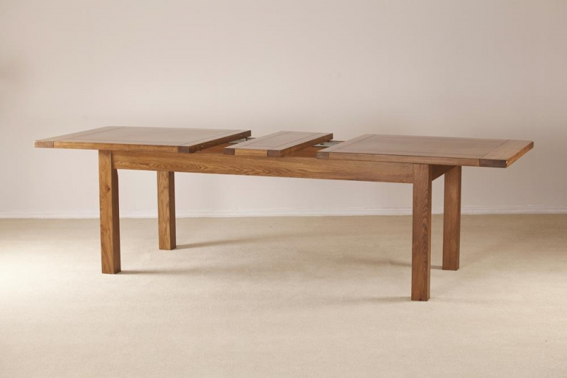 Rustic Oak Large Extending Dining Table
