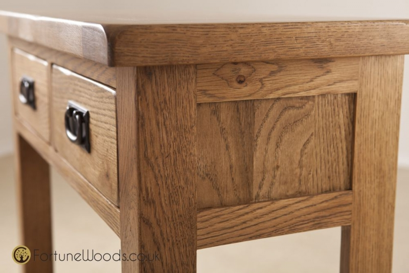 Rustic Oak Console Table with 2 Drawer