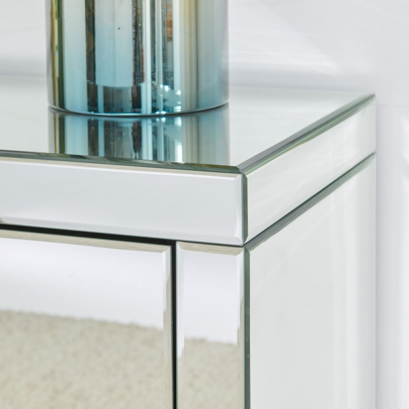 Hollywood Mirrored Console Table and Lighting Mirror