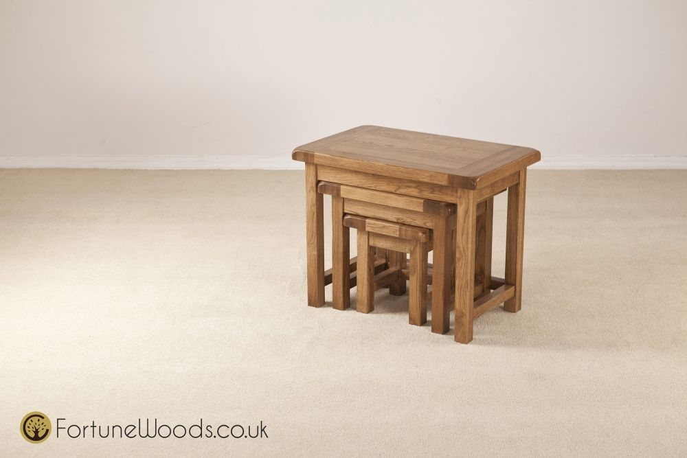 Buy rustic oak nest of tables small online cfs uk for Small nest of tables