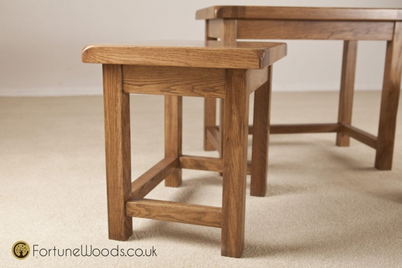 Rustic Oak Nest of Tables - Small