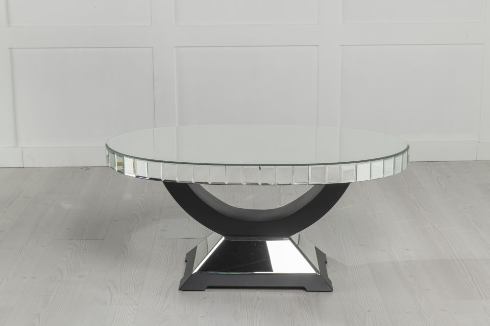 Urban Deco Crystal Mirrored Oval Coffee Table