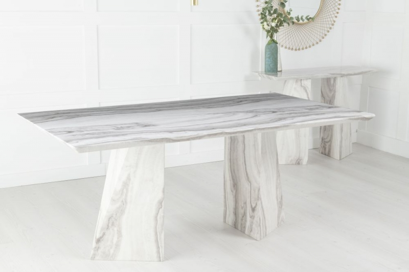 Urban Deco Midas Grey and White Marble Double Pedestal 200cm Dining Table