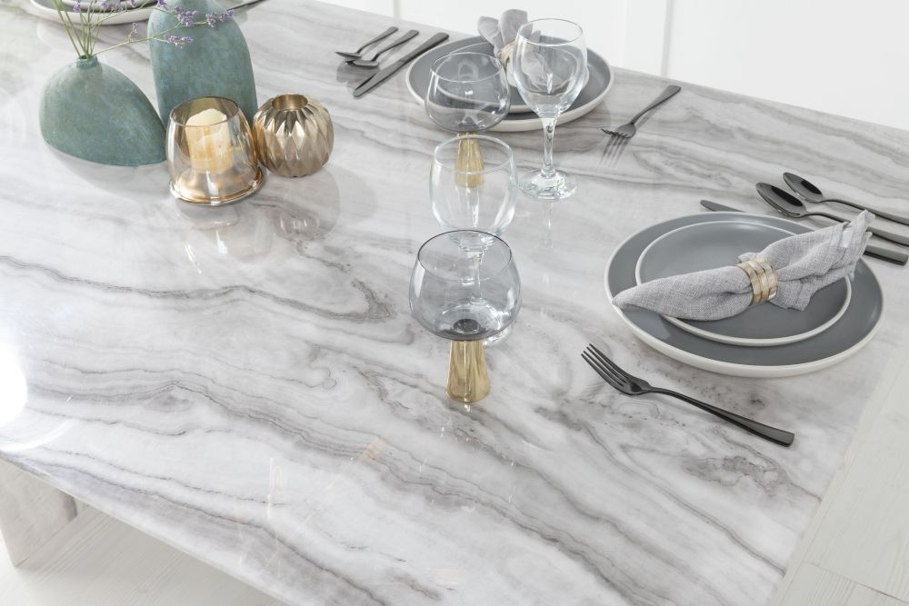Buy Urban Deco Midas Grey and White Marble Double Pedestal 200cm Dining Table with 4 Cadiz White Chairs and Get 2 Extra Chairs Worth £298 For FREE