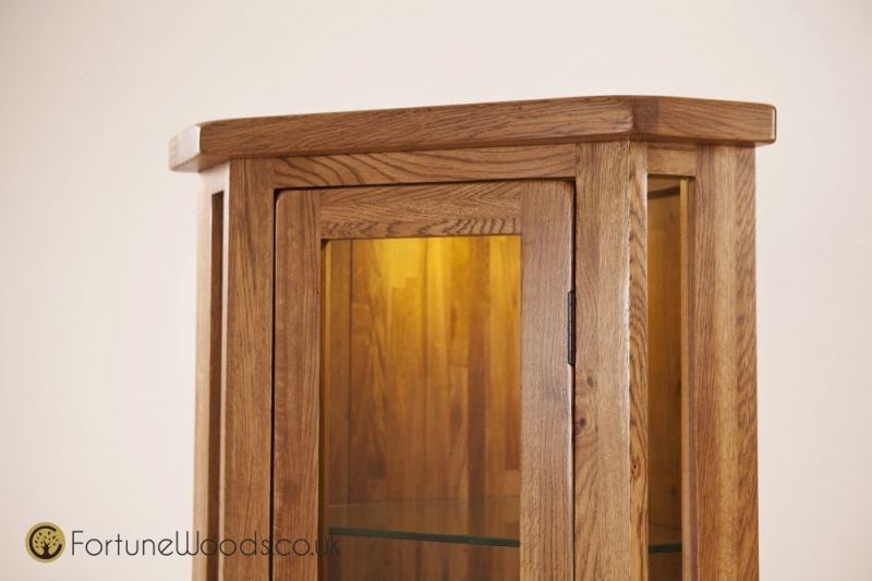 Rustic Oak Display Cabinet - Corner