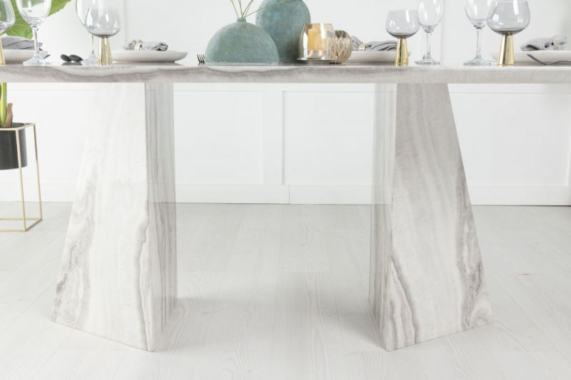 Buy Urban Deco Midas Grey and White Marble Double Pedestal 200cm Dining Table with 4 Grey Knockerback Chrome Leg Chairs and Get 2 Extra Chairs Worth £398 For FREE