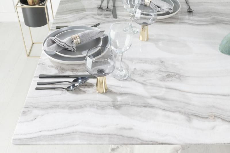 Urban Deco Midas 180cm Grey and White Marble Dining Table and 6 Black Knockerback Chrome Leg Chairs