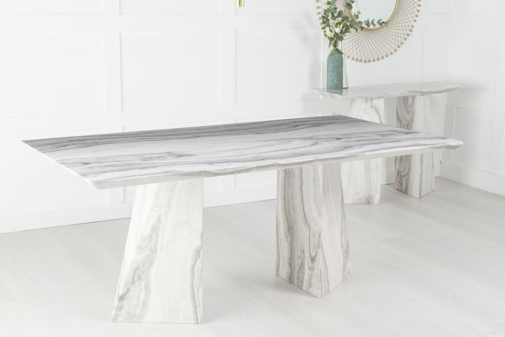 Buy Urban Deco Midas Grey and White Marble Double Pedestal 200cm Dining Table with 4 Black Knockerback Chrome Leg Chairs and Get 2 Extra Chairs Worth £398 For FREE
