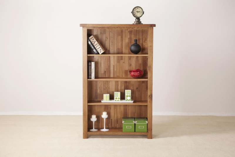 Rustic Oak Wide Bookcase