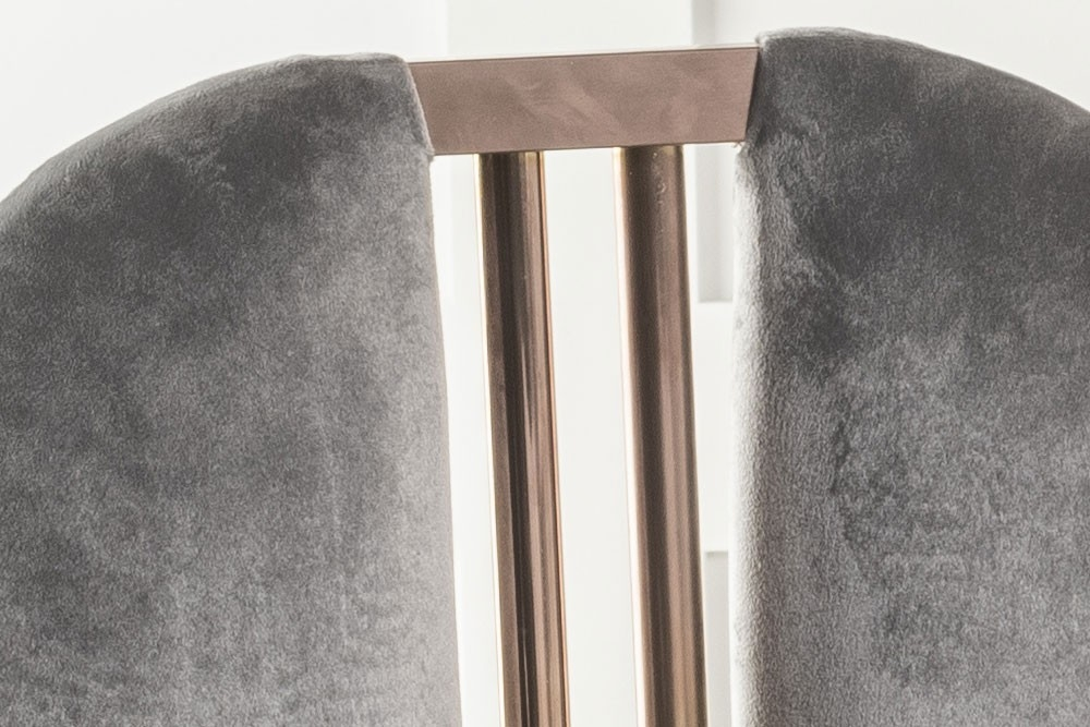 Urban Deco Troy Grey Fabric with Stainless Steel Bronze Legs Dining Chair