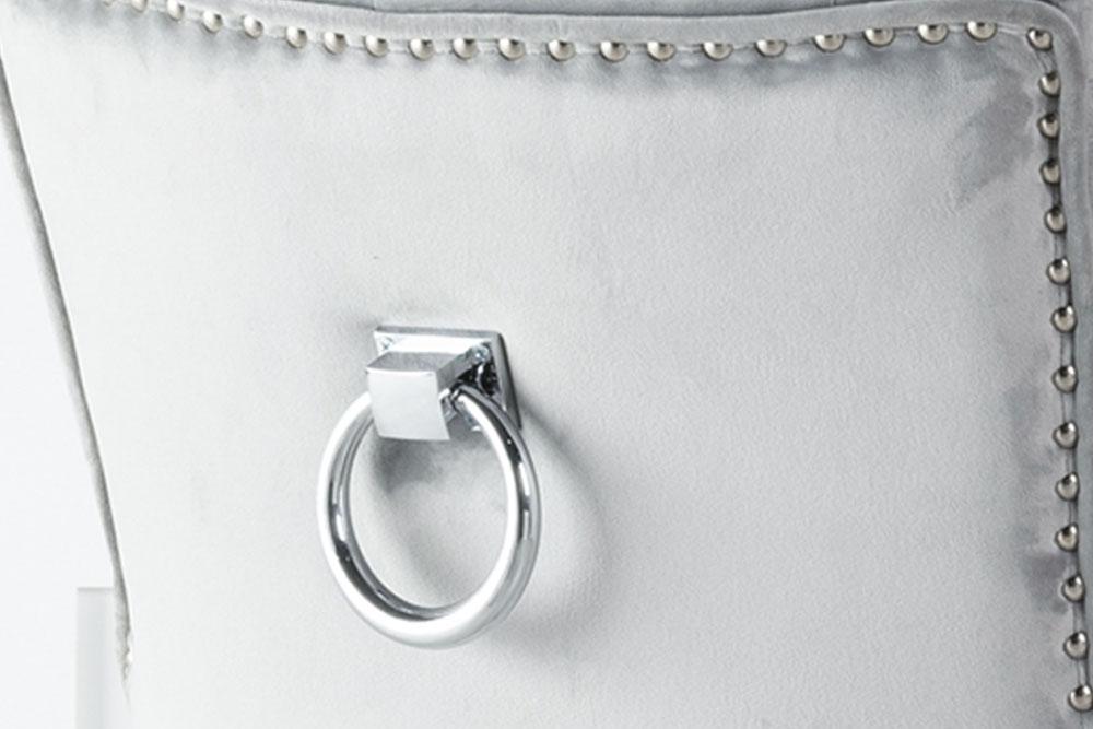 Large Light Grey Velvet Knockerback Ring Dining Chair