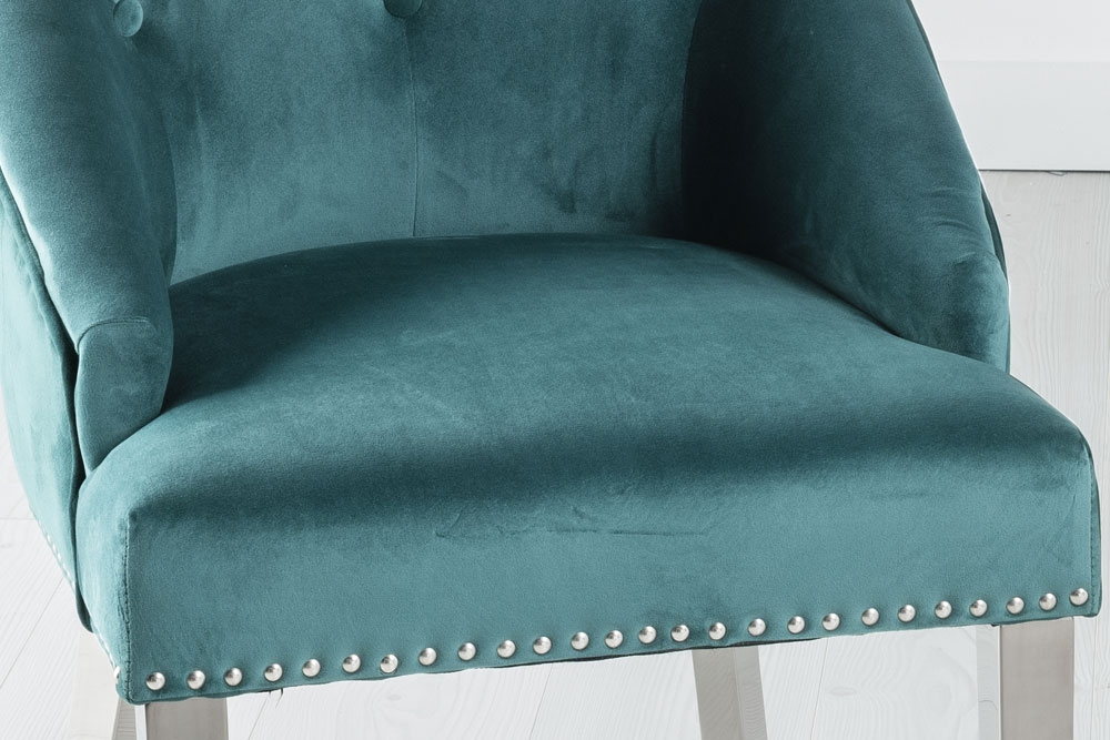 Large Green Velvet Knockerback Ring Dining Chair with Chrome Legs