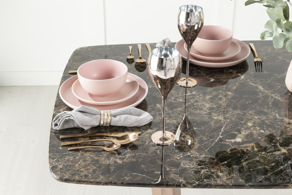 Urban Deco Aurora Dining Table - Brown Marble and Stainless Steel Bronze