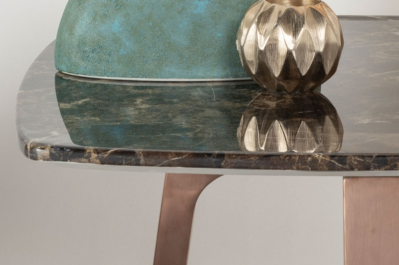 Urban Deco Aurora Side Table - Brown Marble and Stainless Steel Bronze