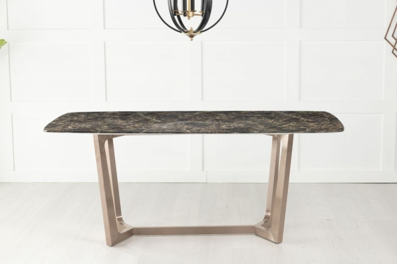 Urban Deco Aurora 180cm Brown Marble and Bronze Dining Table and 6 Troy Grey Chairs