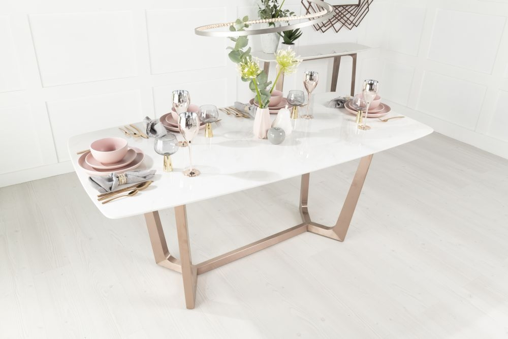 Urban Deco Aurora 180cm White Marble and Bronze Dining Table and 6 Troy Grey Chairs