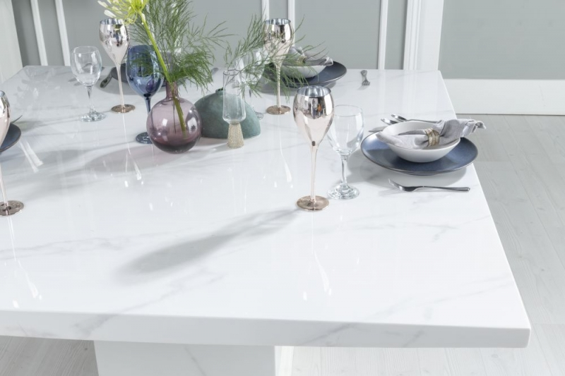 Urban Deco Turin White Marble 140cm Square Dining Table