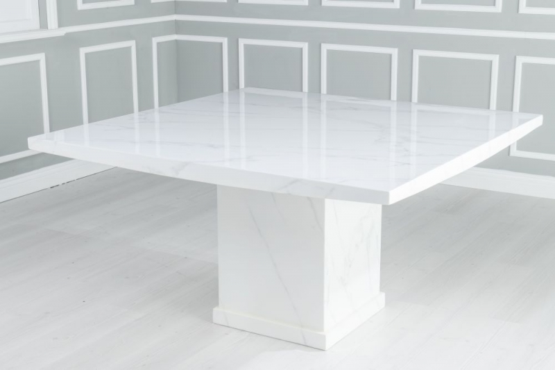 Urban Deco Turin 140cm White Marble Dining Table and 6 Grey Knockerback Chrome Leg Chairs