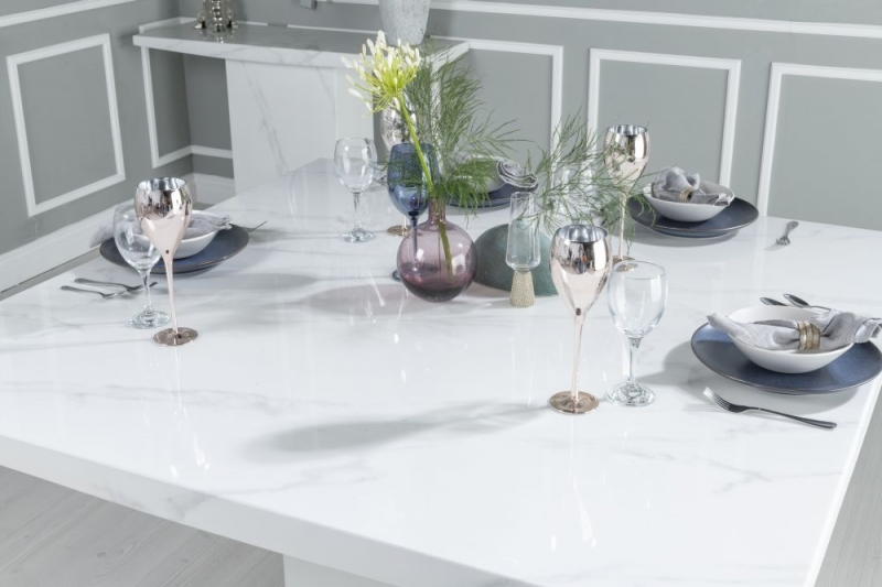 Buy Urban Deco Turin White Marble 140cm Dining Table with 4 Black Knockerback Chrome Leg Chairs and Get 2 Extra Chairs Worth £398 For FREE