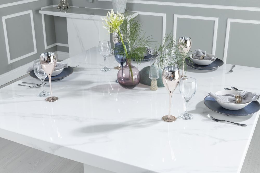 Buy Urban Deco Turin White Marble 140cm Dining Table with 4 Lyon Blue Chairs and Get 2 Extra Chairs Worth £438 For FREE