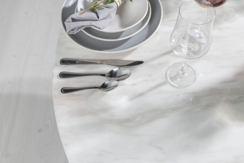 Urban Deco Carrera White Marble Round Dining Table