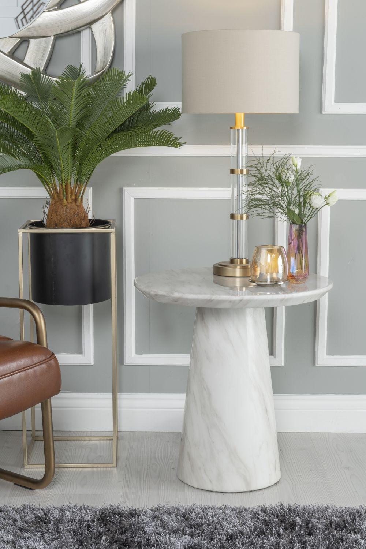Urban Deco Carrera White Marble Round Lamp Table