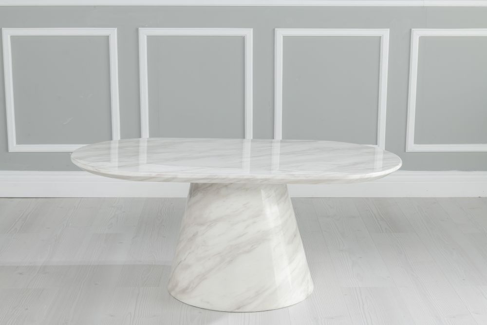 Urban Deco Carrera White Marble Oval Coffee Table