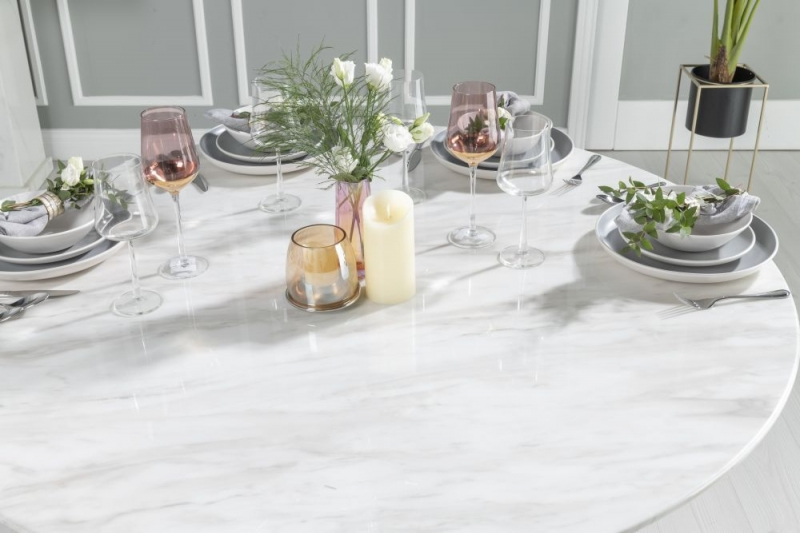 Urban Deco Carrera 130cm White Marble Dining Table and 4 Grey Knockerback Chrome Leg Chairs