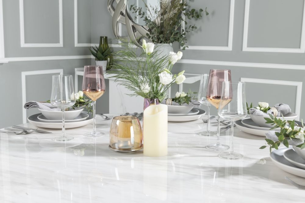 Buy Urban Deco Carrera White Marble Round Dining Table with 4 Premiere Beige Knockerback Chairs and Get 2 Extra Chairs Worth £398 For FREE