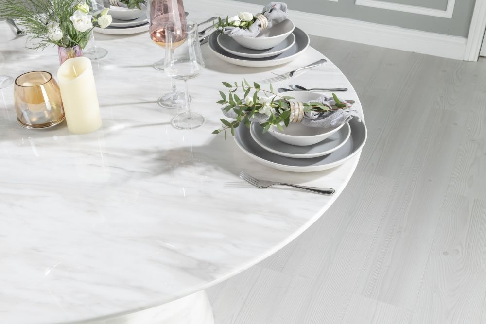 Buy Urban Deco Carrera White Marble Round Dining Table ...