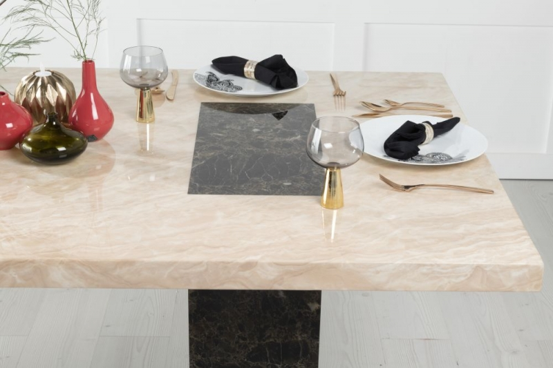 Urban Deco Vienna Cream and Brown Marble 180cm Rectangular Dining Table