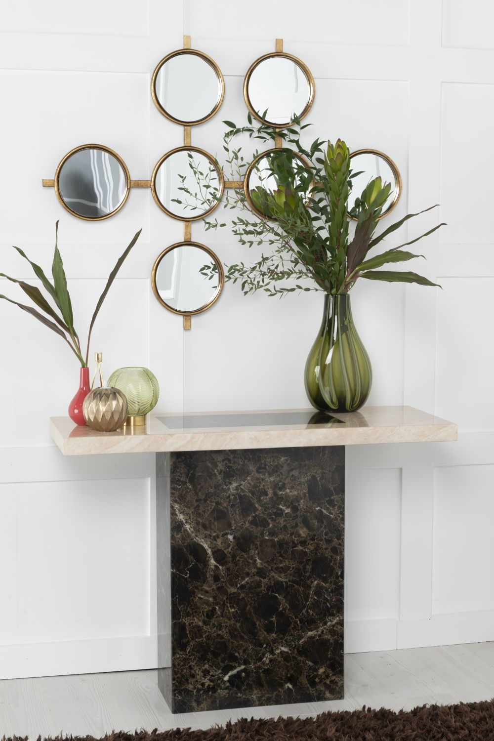 Urban Deco Vienna Cream and Brown Marble Console Table