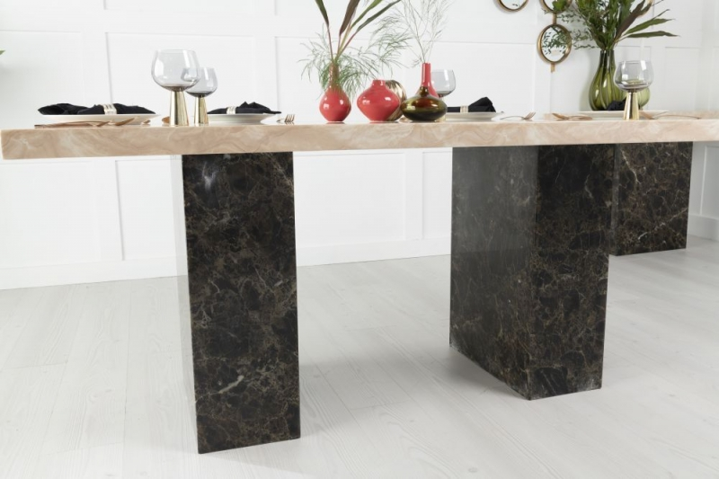 Buy Urban Deco Vienna Cream and Brown Marble 180cm Dining Table with 4 Cadiz Black Chairs and Get 2 Extra Chairs Worth £298 For FREE