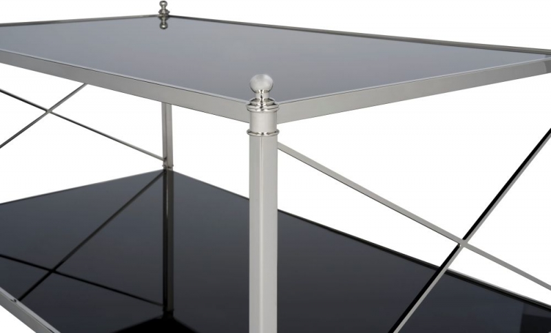 Serene Pune Black Glass and Nickel Coffee Table