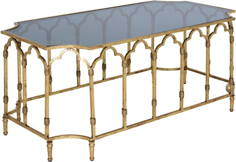Serene Amritsar Black Smoked Glass Top and Gold Coffee Table