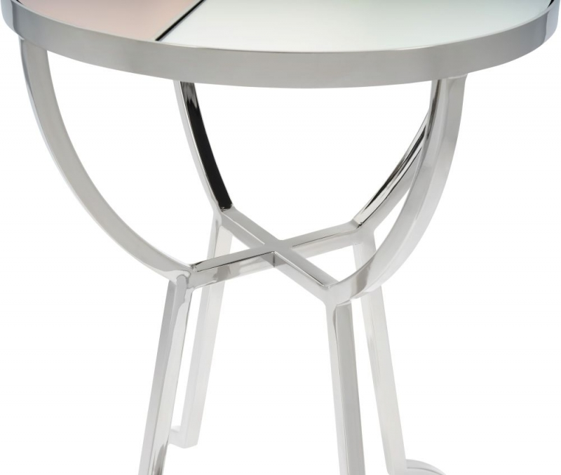 Serene Chennai Multicolour Mirror Top and Nickel Round Side Table